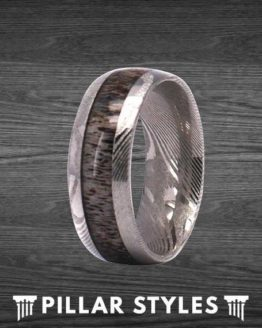 Titanium Damascus Ring Mens Wedding Band
