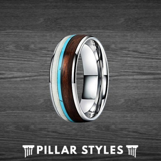 Tungsten Deer Antler Ring with Koa Wood and Turquoise Inlay Mens Wedding Band
