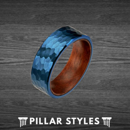 Tungsten Hammered Ring - Mens Koa Wood Rings Blue Wedding Band