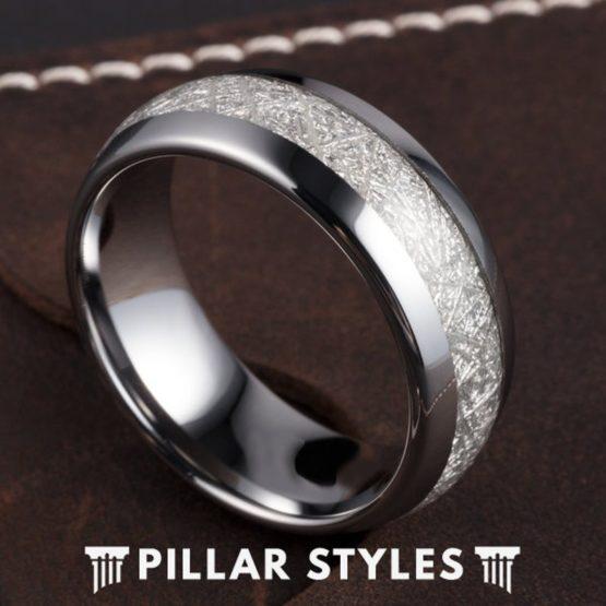 Tungsten Meteorite Ring Mens Wedding Band Couples Ring Set