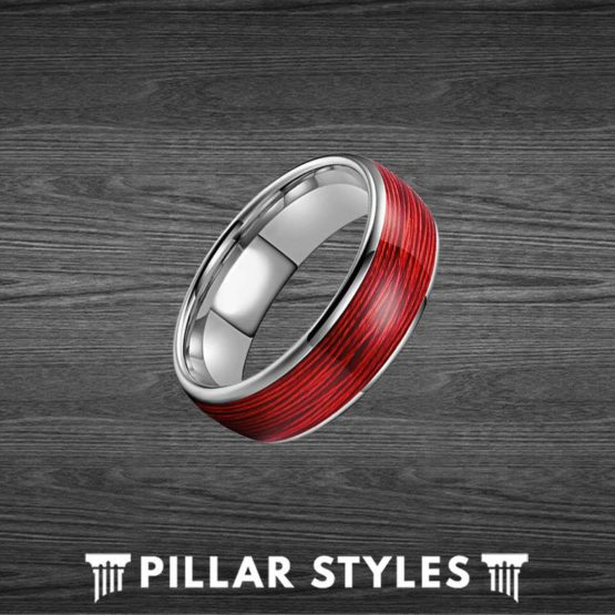 Tungsten Red Ring Mens Wedding Band Wire Ring