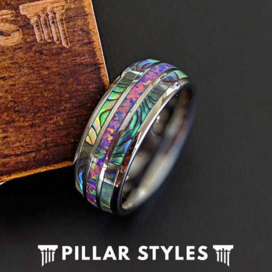 Unique Abalone Ring Mens Wedding Band with Opal Inlay Ring
