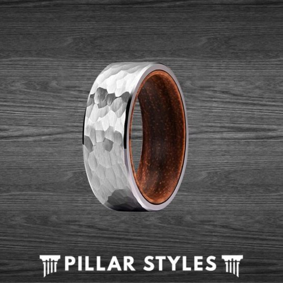 Unique Koa Wood Ring Tungsten Wedding Band Mens Hammered Ring