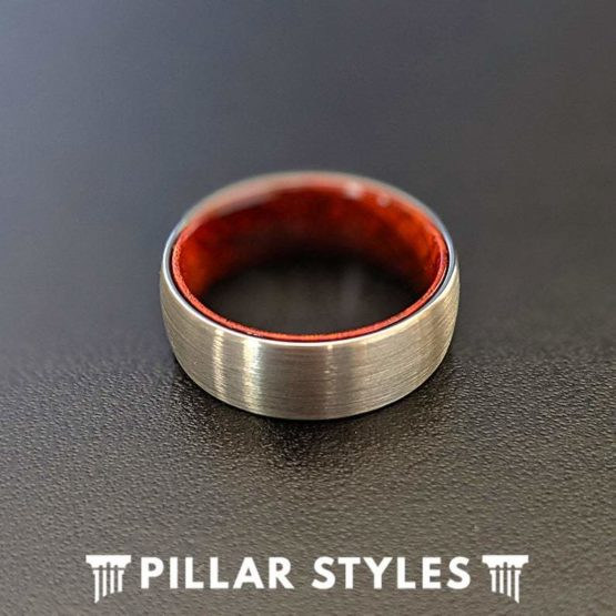 Unique Wood Ring Silver Tungsten Wedding Band Mens Ring
