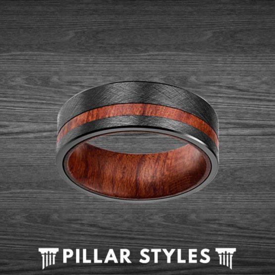 Unique Wood Wedding Band Mens Ring Rose Wood Ring for Men