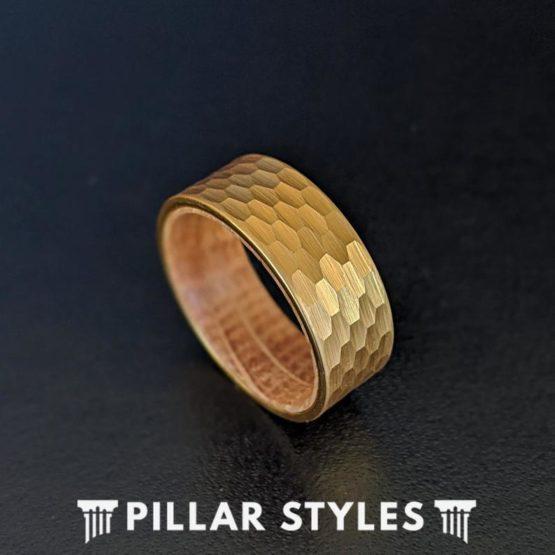 Whiskey Barrel Ring 14K Gold Ring Mens Wedding Band Hammered Ring with Wood Inlay