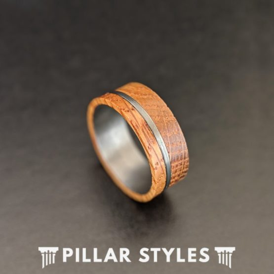 Whiskey Barrel Ring Offset Inlay Tungsten Ring 8mm Mens Wedding Band Bourbon Whisky Ring