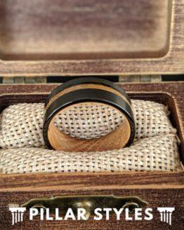Whiskey Barrel Ring Offset Wood Inlay Ring