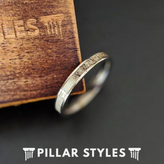 Womens Titanium Wedding Bands 3mm Thin Deer Antler Ring