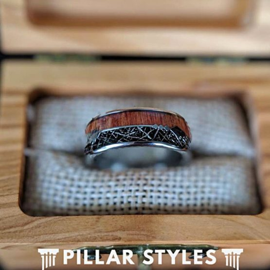 Wood & Meteorite Ring Mens Wedding Band Arrow Ring 8mm Wooden Ring