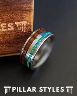 Wood & Opal Ring Tungsten Wedding Band