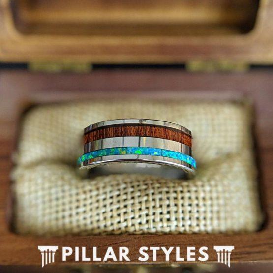 Wood & Opal Ring Tungsten Wedding Band